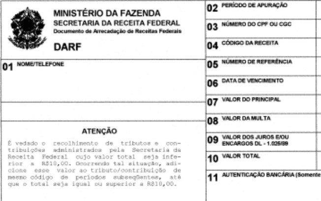 Darf documento de arrecadação de receitas federais dootax.